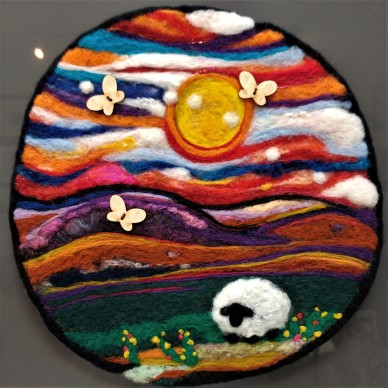 Needle Felted Wool Painting Vibrant Landscape LWW