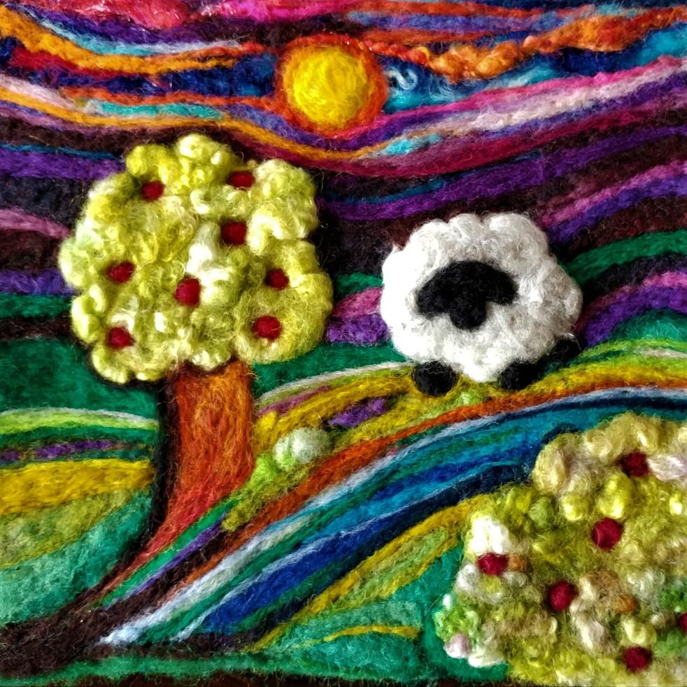 Vibrant Landscape Needle Felted w sheep LWW
