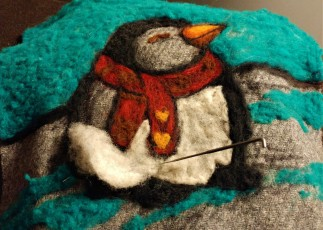 amazing felted fibre painting penguin2