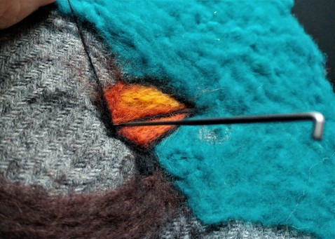 amazing felted penguin painting1