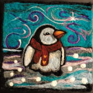 Needle Felted Fibre Art Winter Penguin LWW