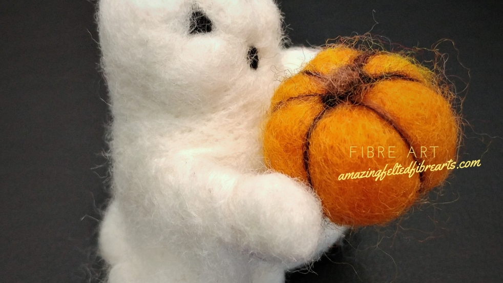 amazing ghost & pumpkin needle felting affa
