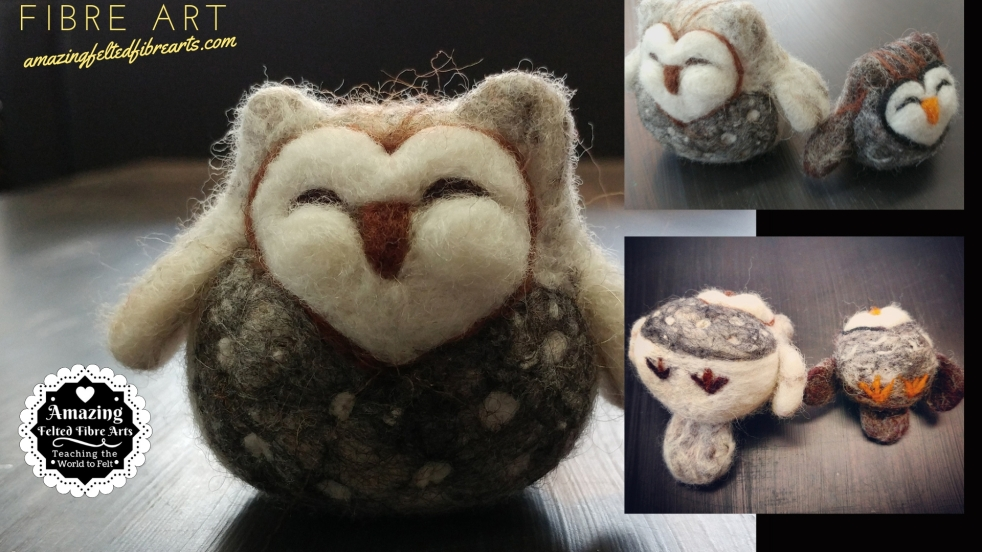 Cute Owl Needle Felting 3D affa