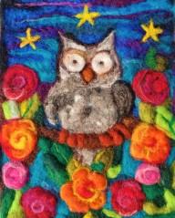 8x10 2D Owl & Roses Needle Felting Fibre Art AFFA