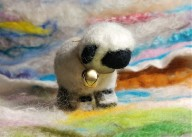 Needle Felted Cute Sheep with colorful bkground affa 5x7