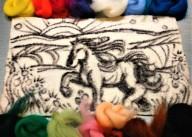 needle felting 2d art Horse Running AFFA